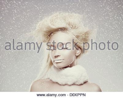 Ice maiden in snow - Stock Image