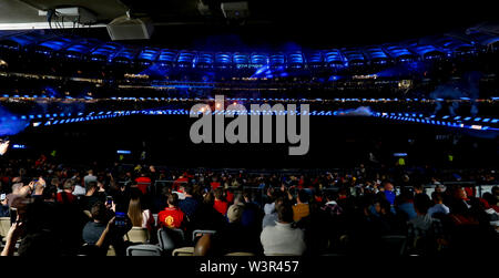 Optus Stadium, Burswood, Perth, W Australia. 17th July 2019. Manchester United versus Leeds United; pre-season tour; Optus Stadium displays Leeds United colours before the game Credit: Action Plus Sports Images/Alamy Live News - Stock Image