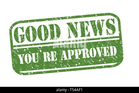 Rubber Stamp Good News Approved text on white illustration - Stock Image