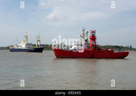 Lightship and Patricia Trinity House ships, Harwich, Essex, UK. - Stock Image