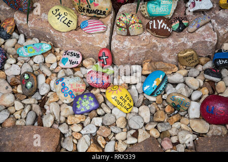 Stone Garden at the Lake City, Florida Veterans Administration Medical Center.  The stones are hand-painted and placed in a small garden near the entr - Stock Image