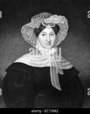 Marcia Van Ness (1782–1832) on engraving from 1835.  Prominent philanthropist and supporter of the orphan asylum. - Stock Image