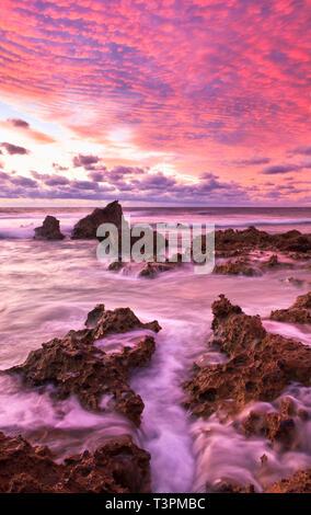 Limestone rocks at Trigg Beach. Perth coastline, Western Australia - Stock Image