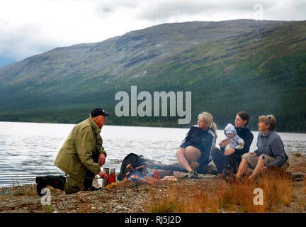 Picknick by a lake - Stock Image