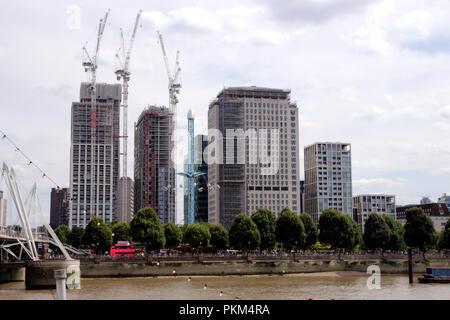 South Bank London skyline August 2018 - Stock Image