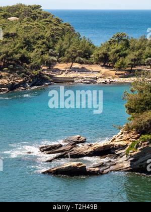 Ruins of Aliki Marble Port at Aliki in Thasos Island, Greece - Stock Image