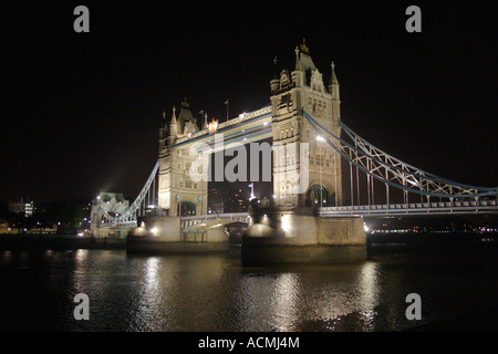 Tower Bridge London at night - Stock Image
