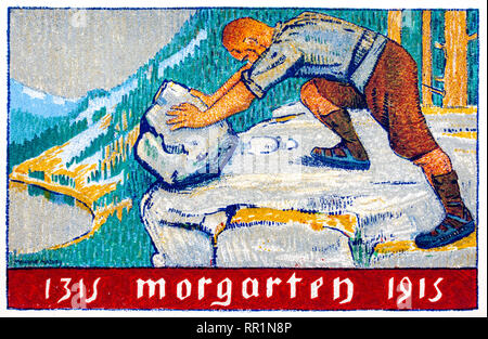 1915 Swiss postcard for 60th0 Anniversary of Morgarten pushing boulder off cliff edge. - Stock Image