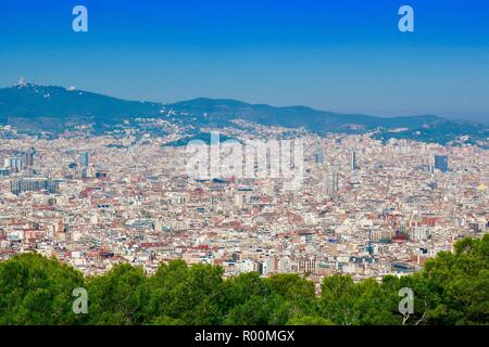 Barcelona, Spain, October 2018. The view from Castell / Castle Mont Juic. - Stock Image