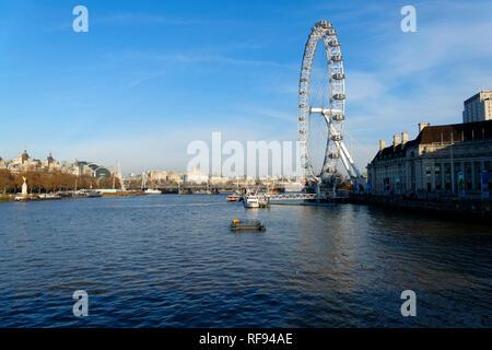 London Eye ferris wheel, river Thames, London, United Kingdom. - Stock Image