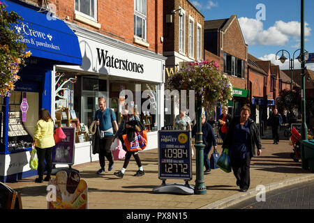 Town centre shops on Victoria Street in Crewe town centre UK - Stock Image