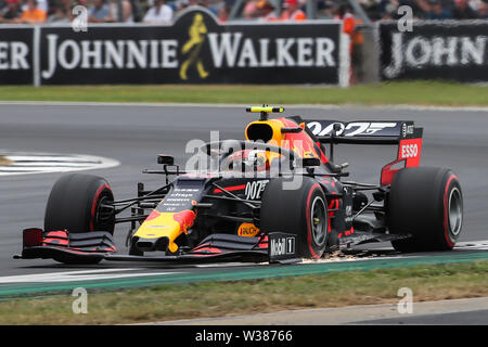 Silverstone Circuit. Northampton, UK. 13th July, 2019. FIA Formula 1 Grand Prix of Britain, Qualification Day; Sparks fly from Pierre Gasly driving his Aston Martin Red Bull Racing RB15 Credit: Action Plus Sports/Alamy Live News - Stock Image