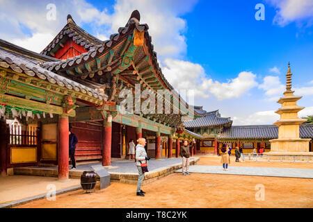 31 March 2019: Gyeong-Ju, South Korea - Visitors at the Bulguksa Buddhist Temple, Gyeong-Ju, a UNESCO World Heritage site. - Stock Image