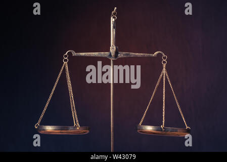Law scales on table. Symbol of justice - Image - Stock Image