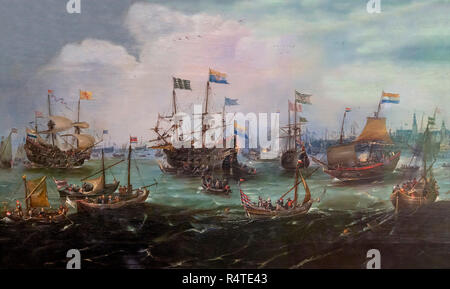 The Return to Amsterdam of the Second Expedition to the East Indies on 19 July 1599, Andries van Eertvelt, 1610-1620, - Stock Image