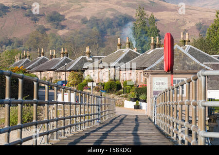 cottages at the village of Luss as seen from the pier - Loch Lomond, Scotland, UK - Stock Image