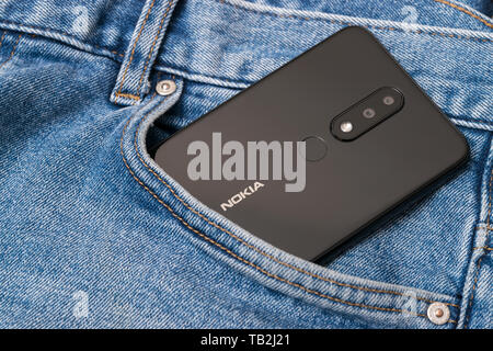 Cluj, Romania - May 13, 2019: Nokia smartphone made by Nokia Corporation, a Finnish multinational telecommunications, information technology, and cons - Stock Image