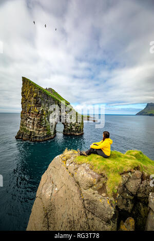Drangarnir sea stacks, Faroe Islands, landscape. Wild europe - Stock Image
