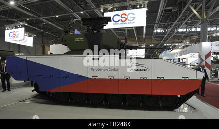 Brno, Czech Republic. 29th May, 2019. Czech Army's ASCOD fighting vehicle was presented at the international trade fair of defence and security technology IDET, trade fair of security technology and services ISET and trade fair of firefighting technology PYROS in Brno, Czech Republic, May 29, 2019. Credit: Igor Zehl/CTK Photo/Alamy Live News - Stock Image