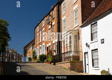 UK, England, Yorkshire, Filey, Church Street, historic houses in old part of town - Stock Image