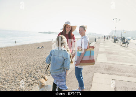 Lesbian couple with daughter and dog on sunny beach boardwalk - Stock Image