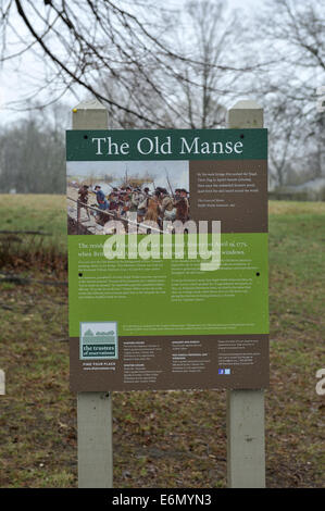 Sign explaining history of The Old Manse, near Minute Man National Historical Park, Concord, Massachusetts, USA - Stock Image
