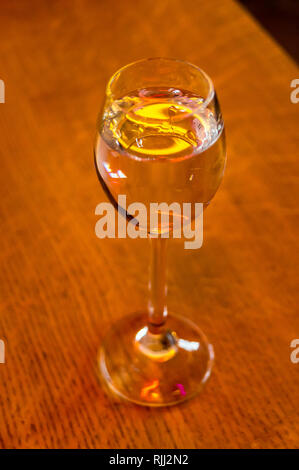 Polish vodka in a small tulip glass, Gdańsk, Poland - Stock Image