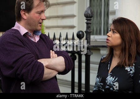 London, UK. 17th June 2019. Richard Ratcliffe who is on hunger strike in front of the Iranian embassy in London in protest of the detention of his wife Nazanin Zgahari in Iran over spying allegations, talks with the labour MP for Hampstead and Kilburn, Tulip Siddiq who has come to give support and promises further action. Credit: Joe Kuis / Alamy - Stock Image