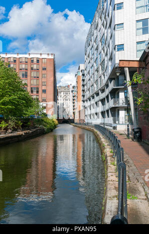 The Rochdale Canal in central Manchester, looking towards Oxford Street, Manchester, England, UK - Stock Image