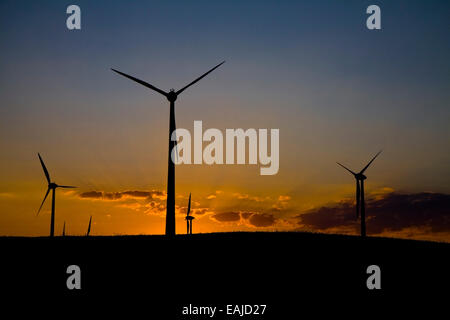 Windmills at evening sky, sunset with clouds - Stock Image
