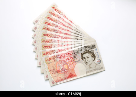 Fan of Fifty Pound Notes - Stock Image
