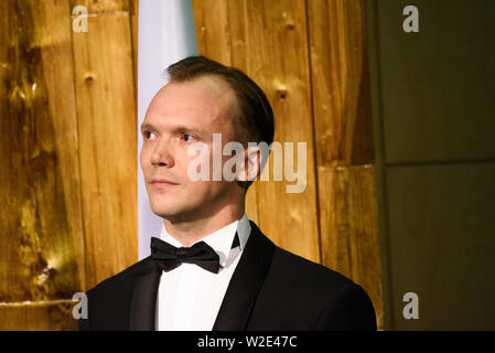 Riga, Latvia. 8th July 2019. Arturs Kruzkops, the host of the event and actor, during Reception in honour of the inauguration of President of Latvia Mr Egils Levits accompanied by First Lady of Latvia Mrs Andra Levite. Credit: Gints Ivuskans/Alamy Live News - Stock Image