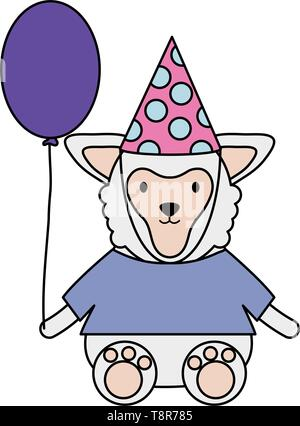 cute sheep with balloon helium in birthday party vector illustration design - Stock Image