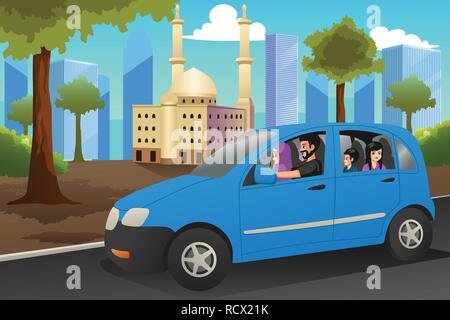 A vector illustration of Muslim Family Driving in a Car - Stock Image