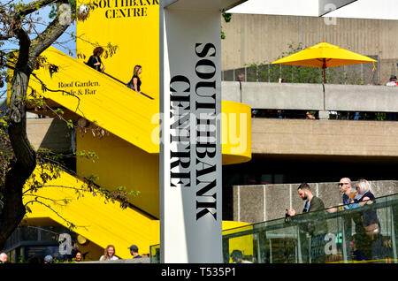 London, England, UK. Southbank Centre complex (National Theatre, Festival Hall and others) Yellow concrete staircase - Stock Image