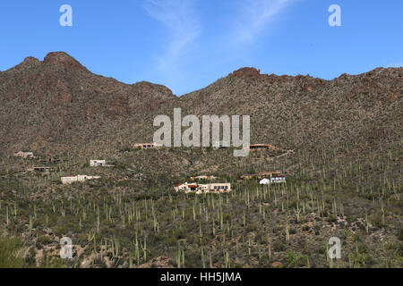 Houses on mountain in Sonoran desert Tuscon Arizona - Stock Image