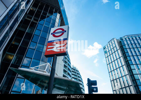 A sign on Old Street, at the Silicon Roundabout indicates that you are at Old Street London Underground Station - Stock Image