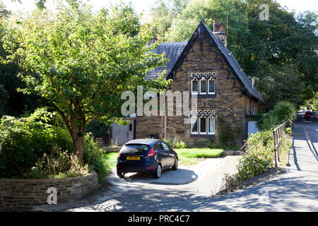 Victorian house with tall gables, Sowerby Bridge, West Yorkshire - Stock Image