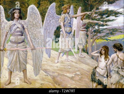 James Tissot, Adam and Eve Driven From Paradise, painting, c. 1896 - Stock Image