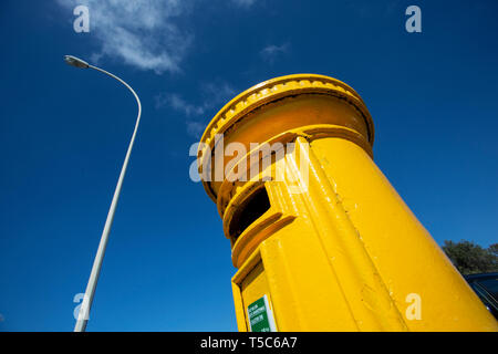 Yellow Post Box, Paphos, Cyprus - Stock Image