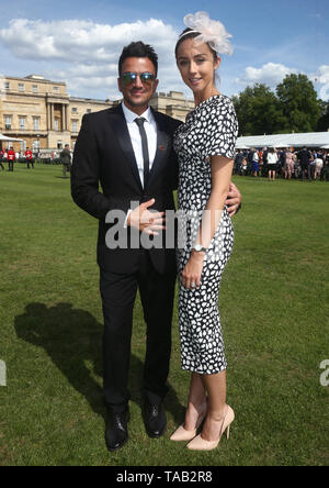 Peter Andre and his wife Emily Macdonagh during the Not Forgotten Association Annual Garden Party at Buckingham Palace in London. - Stock Image