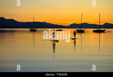 Two stand up paddle boarders returning after sunset on Salt Spring Island, BC, Canada.  Stand up paddleboarding in the Southern Gulf Islands of BC. - Stock Image