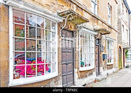 Woodstock near Blenheim (Oxfordshire, England): Old Houses - Stock Image