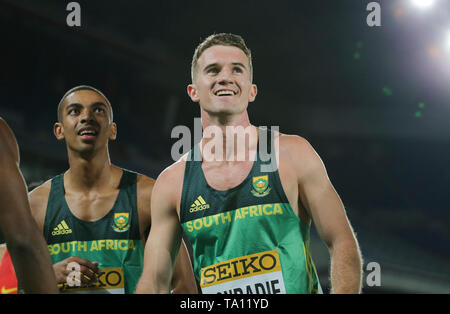 YOKOHAMA, JAPAN - MAY 11: Gardeo Isaacs and Pieter Conradie of South Africa during day 1 of the IAAF World Relays at Nissan Stadium on May 11, 2019 in Yokohama, Japan. (Photo by Roger Sedres/Gallo Images) - Stock Image