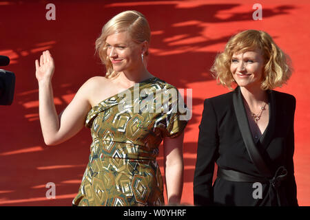 Karlovy Vary, Czech Republic. 28th June, 2019. Actresses Ana Geislerova, right, and Ester Geislerova arrive to the opening ceremony of the 54th Karlovy Vary International Film Festival begins on June 28, 2019, in Karlovy Vary, Czech Republic. Credit: Slavomir Kubes/CTK Photo/Alamy Live News - Stock Image
