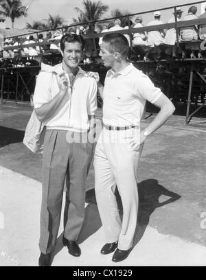 Hugh (Wyatt Earp) O'Brien and tennis pro Tony Trabert in Palm Beach, Florida, ca 1955 - Stock Image