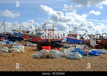 Hastings Old Town Stade fishing boat beach. Hastings has one of the largest beach-launched fishing fleets in Europe - Stock Image