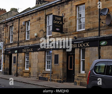 The Dock pub Amble Amble is a small town on the north east coast of Northumberland in North East England.  One of the local pubs in the town Cw 6609 - Stock Image