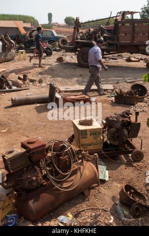 A makeshift roadside garage in Mondulkiri province, northeast Cambodia - Stock Image