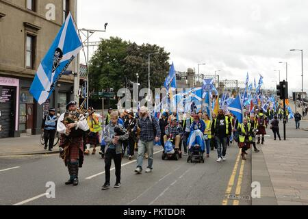Glasgow, Scotland, UK. 15th, September, 2018. Glasgow, Scotland, UK. A 'March for Independence', 'One clan-one goal' walked through the city centre streets this Saturday morning in support of a second referendum. Credit: Douglas Carr/Alamy Live News - Stock Image